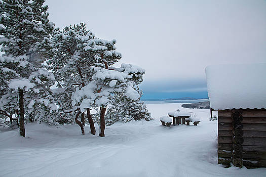 Log cabin on a mountain overlooking an ocean bay in winter by Ulrich Kunst And Bettina Scheidulin