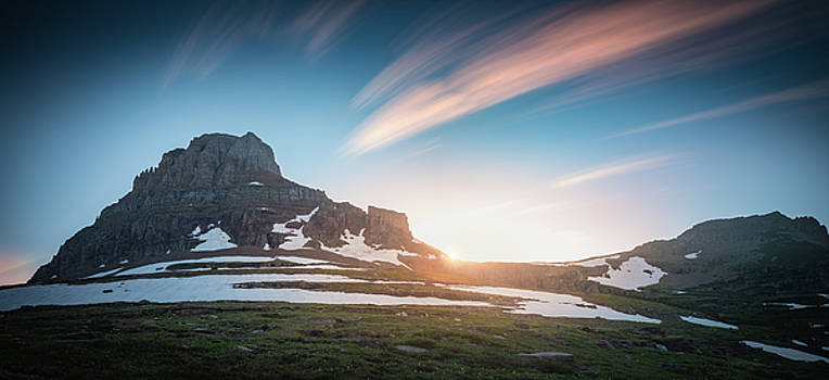 Logan pass sunset with long exposure by William Freebilly photography