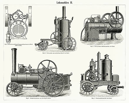 Lokomobilen, engine train and its compartments by Unknown