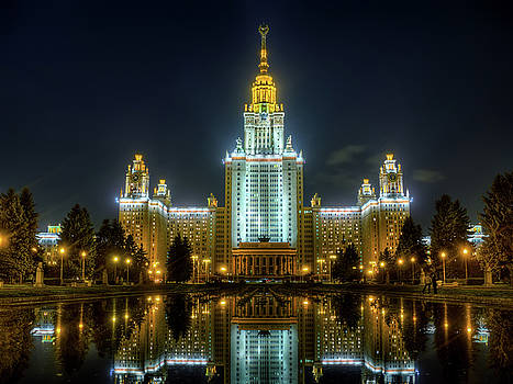 Lomonosov Moscow state university at night by Alexey Kljatov