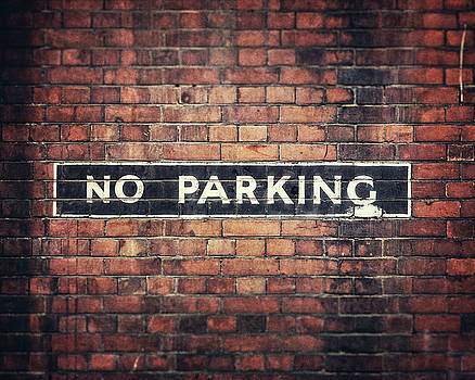 London Photography - No Parking Sign on a Brick Wall by Lisa Russo