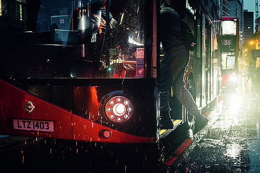 London Routemaster in the Rain by Matt Perry