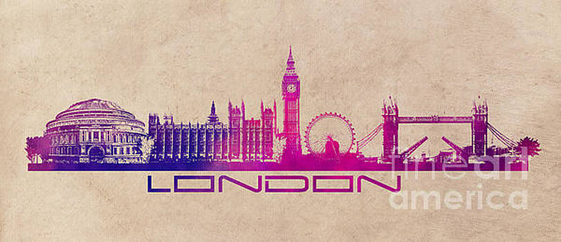 Justyna Jaszke JBJart - London skyline city purple