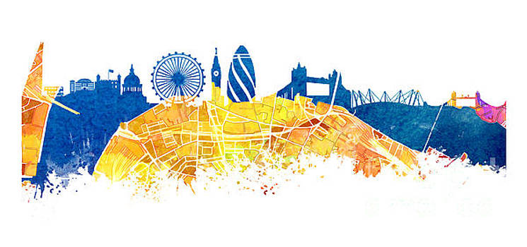 Justyna Jaszke JBJart - London skyline map city London Eye
