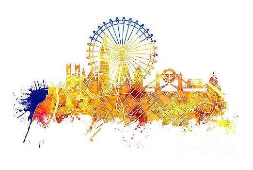 Justyna Jaszke JBJart - London skyline map city yellow