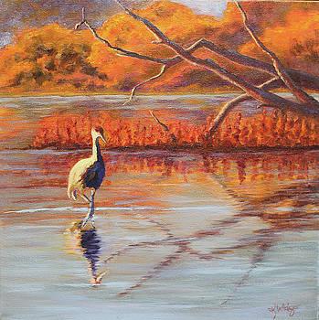 Lone Crane Still Water by Katy Widger