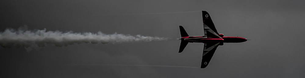 Lone Red Arrow Smoke Trail - Teesside Airshow 2016 by Scott Lyons