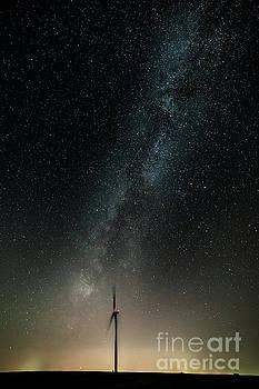 Tibor Vari - Lone Windmill with Milky Way Galaxy