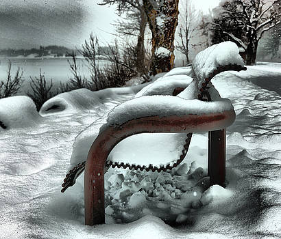Lonely bench in snowfall by Jeff Swan