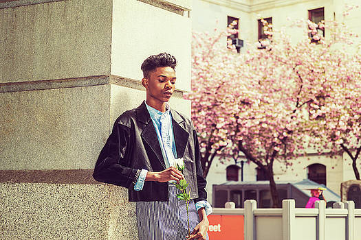 Alexander Image - Lonely boy with white rose 15042643