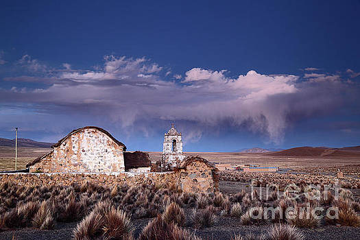 James Brunker - Lonely Church and Stormy Altiplano Skies Bolivia