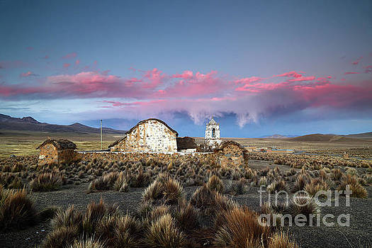 James Brunker - Lonely Church and Stormy Altiplano Sunset Bolivia