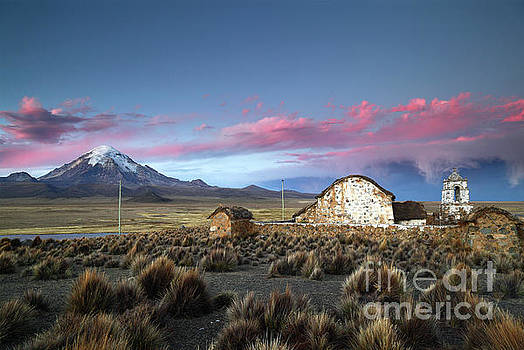 James Brunker - Lonely Church Sajama Volcano and Stormy Altiplano Skies Bolivia
