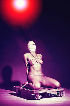 Lonely - Nude woman tiedup # in color by William Langeveld