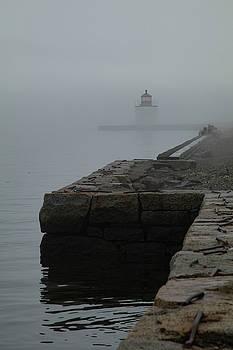 Lonely Salem Lighthouse in fog by Jeff Folger