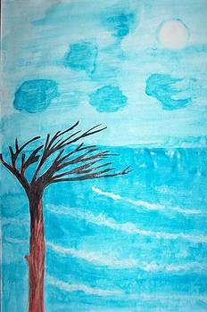Lonely tree and Sea by Rashmi Kemnaik