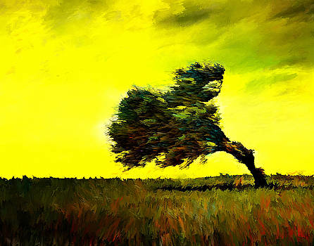 Lonely tree landscape art painting by Andres Ramos