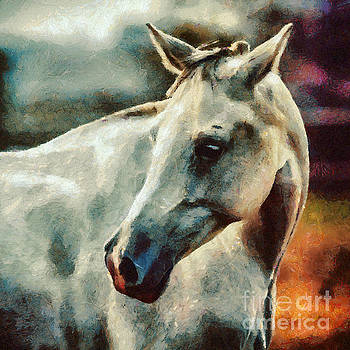 Dimitar Hristov - Lonely white horse Painting