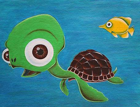 Lonesome Fish And Friendly Turtle by Landon Clary