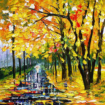 Long Autumn - PALETTE KNIFE Oil Painting On Canvas By Leonid Afremov by Leonid Afremov