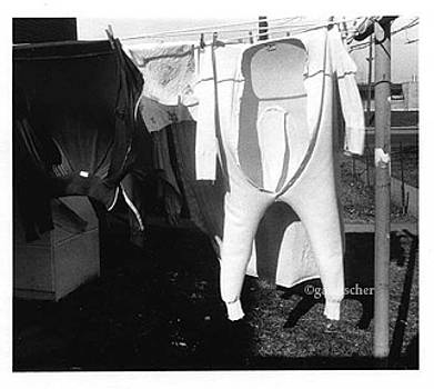 Long johns on the clothesline by Gail Fischer
