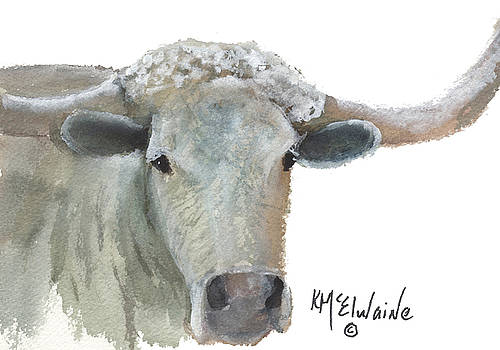 White Longhorn Cattle watercolor and gouache painting by KMcElwaine by Kathleen McElwaine