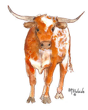 Texas Red Longhorn watercolor painting by KMcElwaine by Kathleen McElwaine