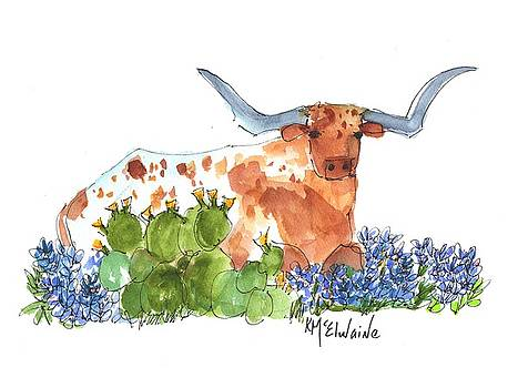 Longhorn In The Cactus and Bluebonnets LH014 Kathleen McElwaine by Kathleen McElwaine