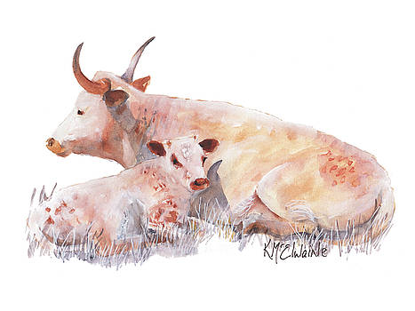 Longhorn Shade Mama and Baby watercolor painting by KMcElwaine by Kathleen McElwaine