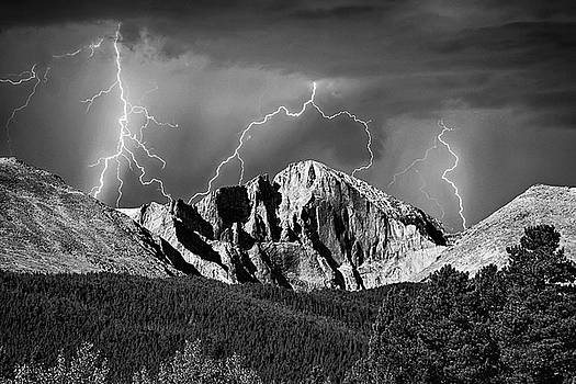 James BO Insogna - Longs Peak and Lightning In Black and White