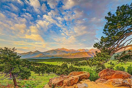 Long's Peak at sunrise from Deer Ridge Overlook by Fred J Lord
