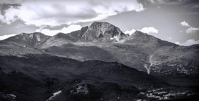Longs Peak Panorama Black And White by Dan Sproul