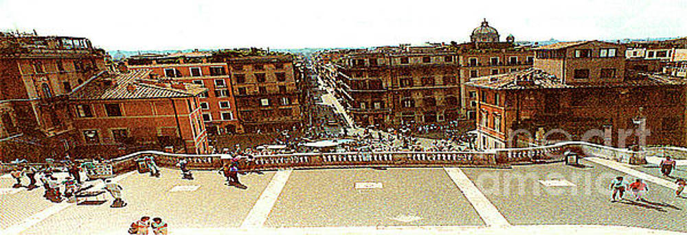 Looking Down From The Top of the Spanish Steps - Rome Italy by Merton Allen