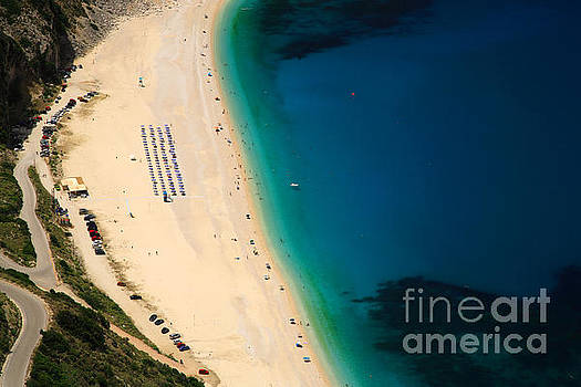 Looking down onto Myrtos beach by Deborah Benbrook