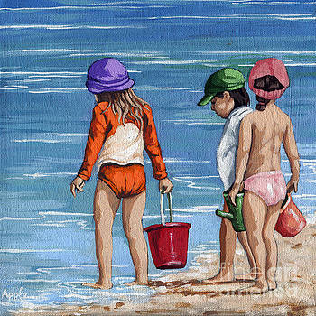 Looking for Seashells Children on the beach figurative original painting by Linda Apple