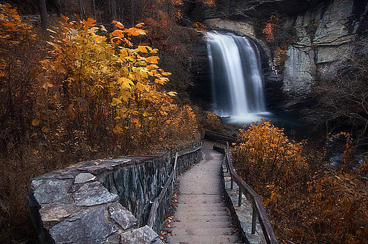 Looking Glass Falls in Fall by Dawnfire Photography
