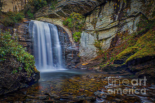 Looking Glass Falls in the Blue Ridge Mountains Brevard North Carolina by T Lowry Wilson