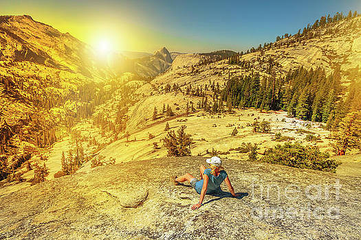 Looking Half Dome at sunset by Benny Marty