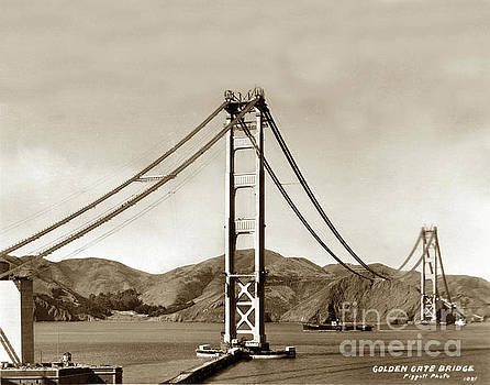 California Views Mr Pat Hathaway Archives - Looking north at the Golden Gate Bridge under construction with