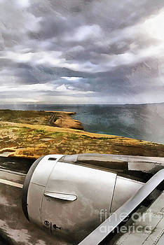 Looking through a window of an Airbus A320 during landing by George Atsametakis