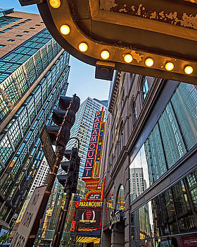 Looking up at the Boston Paramount Boston MA by Toby McGuire
