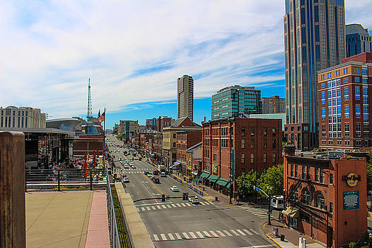 Looking Up Broadway In Nashville by Denise Keegan Frawley