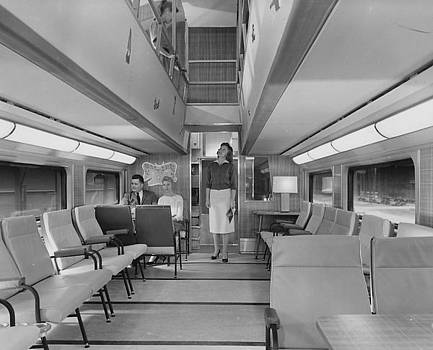 Chicago and North Western Historical Society - Looking Up in Bilevel Passenger Car - 1958
