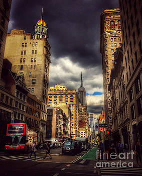Looking Uptown - with Empire State Building by Miriam Danar