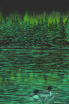 Loons on Green water under Aurora Borealis by Ron Dietman