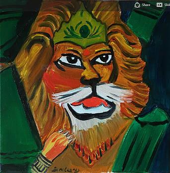Lord Narasimha emerging from pillar by Ramya Sundararajan
