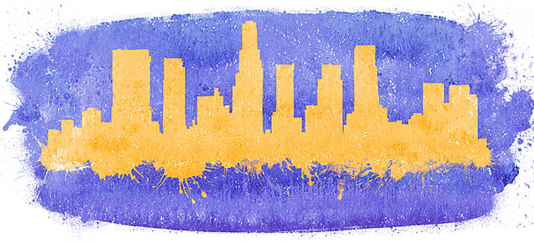 Vyacheslav Isaev - Los Angeles City skyline on a purple background