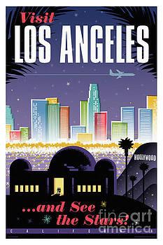 Los Angeles Retro Travel Poster by Jim Zahniser