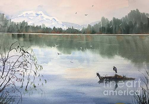 Lost Lagoon with Blue Heron by Yohana Knobloch