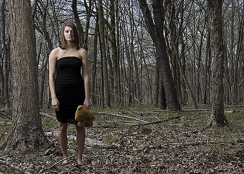 Lost - Young Adult Female In Woods With Teddy Bear by Dylan Murphy